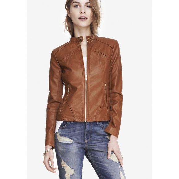 f94d2f0a0 Express minus the leather brown moto jacket XS
